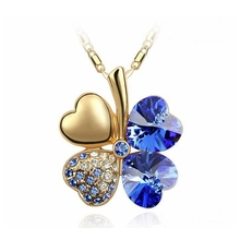 Heart Necklace Blue Lucky Four Leaf Clover Pendants  Korea Trendy Jewelry  Women Crystal from Swarovski