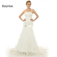 Buy Baijinbai Sexy Mermaid Wedding Dress 2017 Elegant Strapless Appliques Lace Vestidos De Noiva Dropped Bridal Dress for $109.85 in AliExpress store