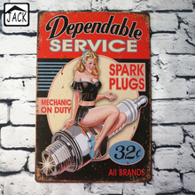 Dependable Service Sexy Lady Advertising Plaque Metal Plate Poster 20X30CM Vintage Tin Signs Bar Club Garage Home Wall Decor(China)