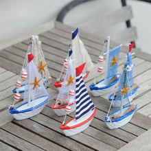 2PCS/LOT Colorful Wooden Mini Sailing Boats Mediterranean Style Creative sailing Ship Model Gifts Home Decor