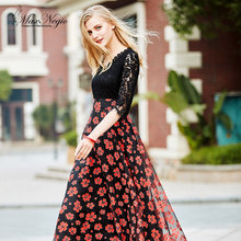 MaxNegio Women New Collection Spring Summer Beach Casual Print High Waist Ankle Length Big Size 2XL Lace One Piece Maxi Dress