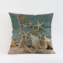 Ocean sea shell Creative Lucky starfish Mediterranean Cushion Cover Pillow Case home decoration club coffee shop sofa gift home(China)