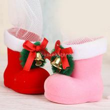 Candy Boots Christmas Decor Ornaments Holiday Gifts Sack Treat Bag 6cmx6cm(China)