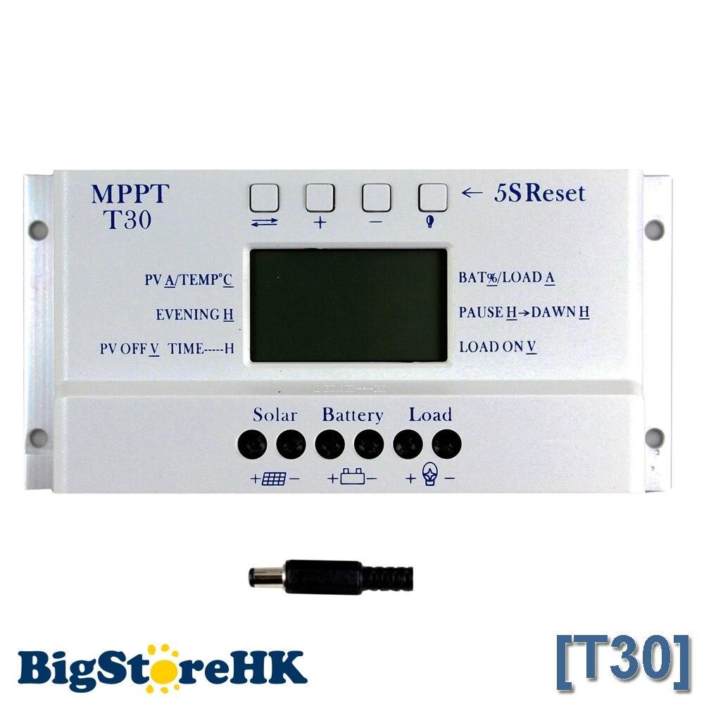 Solar Controller MPPT T30 12v 24v Auto Work Voltage Settable Intelligent Lighting and Dual Timer Control Solar Regulator<br>