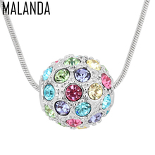 MALANDA Brand Zircon Colorful Crystal Ball Pendants Crystal From Swarovski Statement Necklaces For Women Wedding Party Jewelry(China)