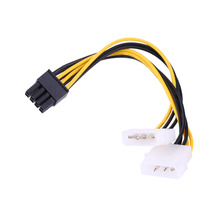 PCI Express Adapter 4PINx2 TO PCI-E 8PIN Male To Dual LP4 Molex IDE Power Cable Adapter 16cm