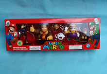 "6pcs Waluigi Wario Donkey Kong Diddy Kong Goomba Boo 3"" Super Mario Series 4 Mini Figure Collection(China)"