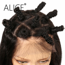 ALICE Non Remy Brazilian Hair 5*4.5 Diamond Silk Base Full Lace Human Hair Wigs With Baby Hair Natural Color Body Wave Lace Wigs(China)