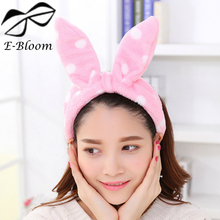 Korean Super Adorable Pink Dot Hairband Flannel Cute Girls Makeup Stage Headband Rabbit Ear Thickened Headbands Hair Accessories(China)
