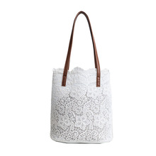 Buy M.S White Lace Beach Bags Women Summer 2PCS Shoulder Bag Casual Big Capacity Hollow Handbags Womens Black Flower Bags WB498 for $14.17 in AliExpress store