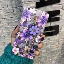 Beautiful 3D Flowers For iphone 6 Case 6s TPU With Bracelet For iphone 6s plus Case 6 plus Applicable Girls Mobile Phone Cover
