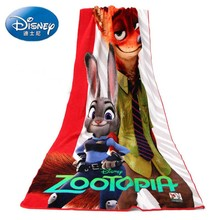 Disney crazy animal city Zootopia printing plush bath towel cotton children's towel soft and absorbent,Free Shipping.(China)