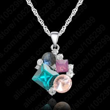JEXXI Fast Free Ship 1 Piece Fast Free Shipping AAA Crystal Real Pure Solid 925 Sterling Silver Pendant Necklace For Woman Girl