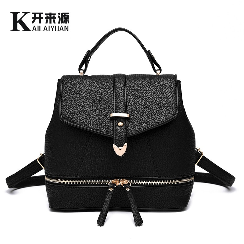 KLY 100% Genuine leather Women backpack 2017 New student backpack fashionista new spring and summer fashion leisure Korean women<br>