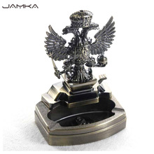 Russia Turkey Emblem Metal Statue Lighters Ashtray Fire Crown Eagle Cigarette Lighter Desktop Decoration Smoker Best Gift(China)