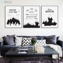 Nordic Black Typography Adventure Quotes Art Print Poster Mountain Wall Picture Hippie Modern Home Deco Canvas Painting No Frame(China)