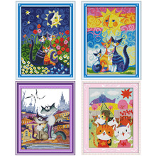 Lovely Cartoon Cats and The Sun nauty cat DMC Counted Cross Stitch printed Cross-Stitch Kit Handmade Embroidery for Needlework