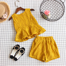 Baby Girl Fairy 2pcs Clothing set 2017 summer new children Kids White lace Ruffles vest Tanktop Sleeveless Tops + shorts Clothes