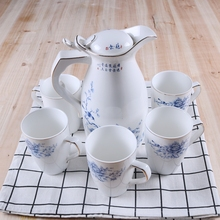 Wholesale Pastorale Water Jug Ceramic Healthy Kettel Water Pot Sets Kitchenware Porcelain Water Bottle Boiling Water Available(China)
