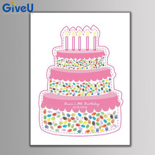 GiveU DIY Customized Kids Birthday Cake Fingerprint Canvas Painting Babyshower Guest Book Signature Cake 2 box inkpad