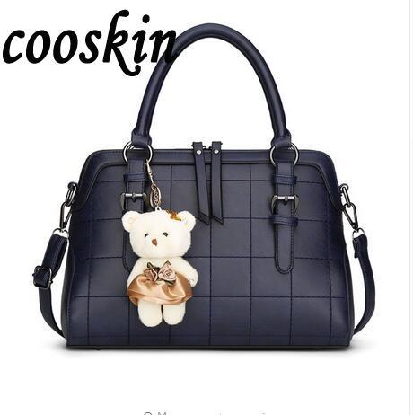 2017 Spring New Plaid Women Shoulder Bag With Bear Toy High Quality European and American Women Bags Vintage Handbag<br><br>Aliexpress