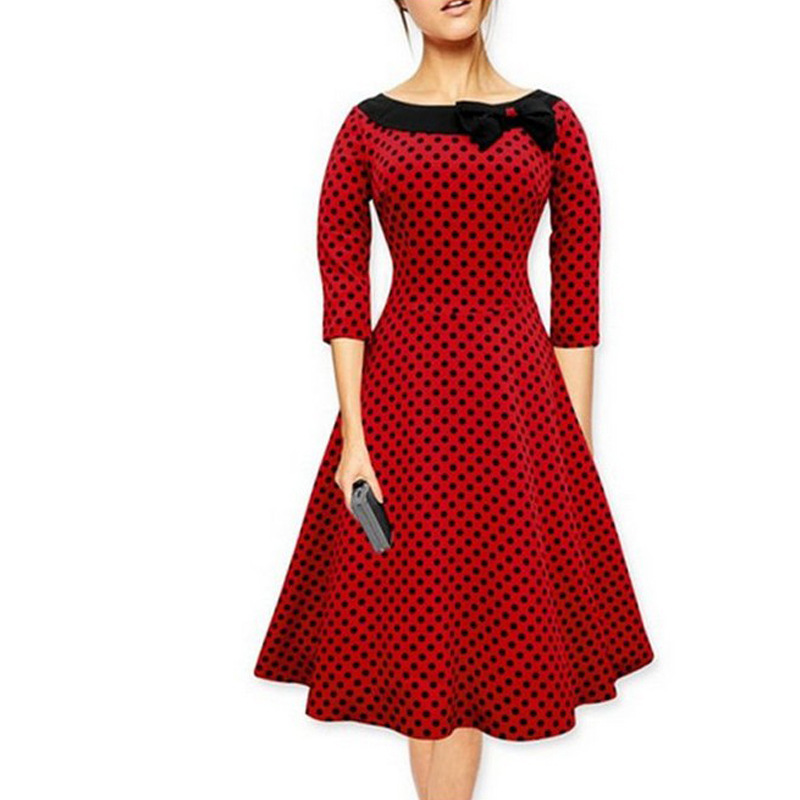 Women Vintage 50s Summer Big Swing Dress Plus Size Clothing 2017 Robe Retro Casual Party Vestidos Polka Dot Rockabilly Dresses