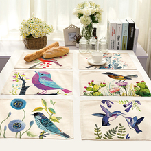 1 pc Hand Painted Flower Bird Pattern Cotton Linen Western Pad Placemat Insulation Dining Table Mat Coasters Kitchen Accessories(China)