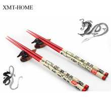 XMT-HOME Chinese dragon chopsticks wooden tableware sticks hashi sushi chopsticks gift packing 2pairs