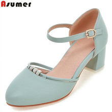 Buy Asumer 2018 summer new arrive women pumps fashion buckle crystal med heels shoes elegant two piece college style ladies shoes for $23.92 in AliExpress store