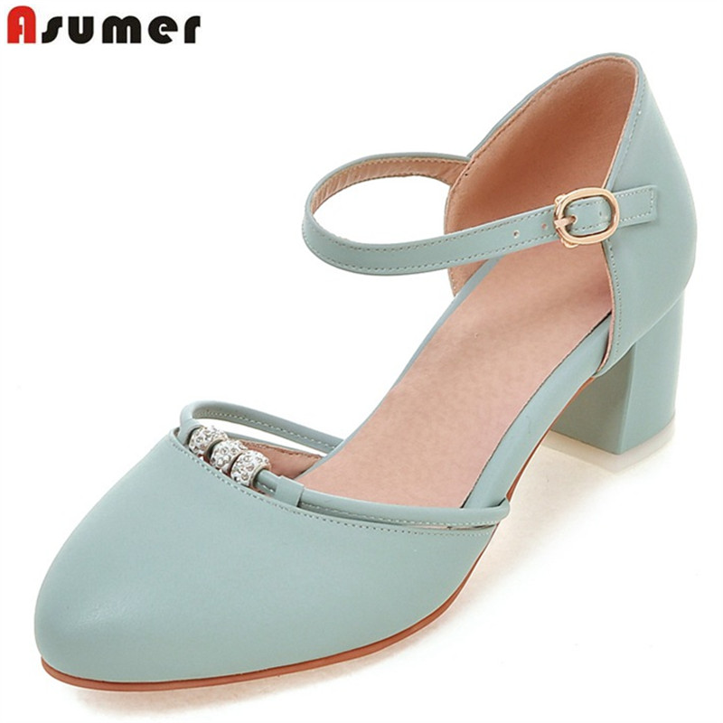 Asumer 2018 summer new arrive women pumps fashion buckle crystal med heels shoes elegant two piece college style ladies shoes