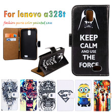 Hot Selling Painted Leather Covers For Lenovo A328T 4.5 Inch A328 Cases Hoods Shells Housings Flip Holster Cell Phone Bags