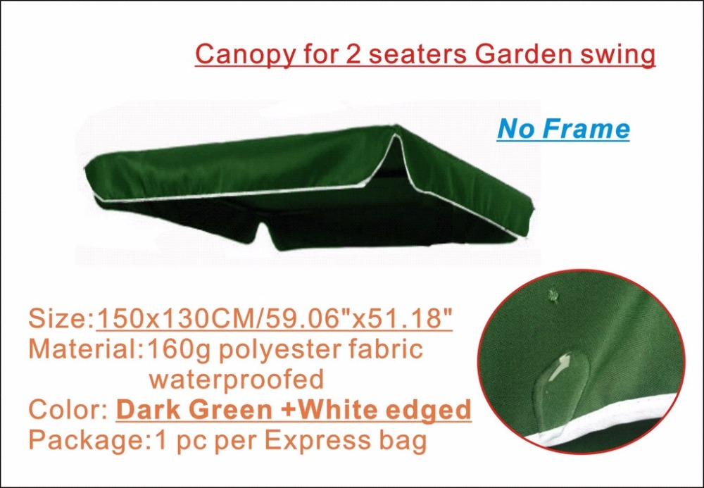 Replacement Canopy for 2 seaters garden swing,Dark green color Canopy,water proofed polyester canopy<br><br>Aliexpress