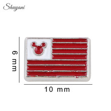 20PCS Wholesale Alloy Enamel USA Flag Charms Mouse Head Floating Locket Charms for Living Glass Locket