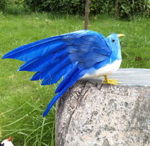 22x28cm blue feathers artificial bird spreading wings feathers bird handicraft,prop,home garden decoration gift p2788(China)