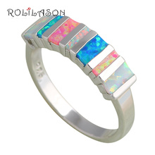 Rectangle style Popular design Color fire Opal Silver Stamped Rings Fine fashion jewelry for women USA SZ #6 #7 #8 #9 #10 OR636