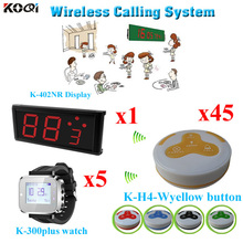 Table Call System Top Popular Restaurant ; Can Show How Many Next Coming Calling(1 display+ 5 watch+45 button)(China)