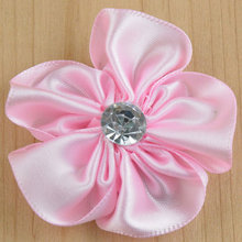 "hair accessories wedding embellishments rhinestone center 2"" satin ribbon hair flowers for making headbands,hair bands etc."