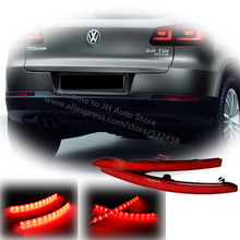 Bright Red Lens Auto LED Rear Reflectors Light for Volkswagen Tiguan 2011-2012 Car Tail Fog Lamp Brake Stop Night Running Lights(China)