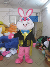 polyfoam head high quality bunny mascot costumes cartoon pink rabbit costume