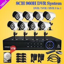 8ch complete video surveillance system 8 Channel  DVR Security Camera outdoor CCTV security system dvr nvr kit and 1tb hard disk