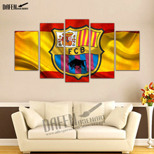 5 Panel HD Print Painting Wall Art Picture Soccer Football Club Logo Emblem Painting for Home Decoration Ready to Hang(Hong Kong)