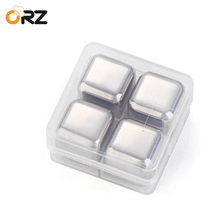 ORZ 4PCS Whisky Cooler Stone Set Stainless Steel Ice Cube Chilling Stones Rocks for Physical Cooling Tools Reusable Ice Coolers