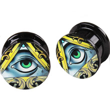ear tunnel black uv internally screw plugs with eyes logo popular 2016 style hot sales in Ebay  Flesh tunnel plugs