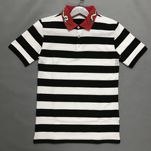 Fashion Embroidered Bees Tops&Tees Men's Polo Shirts Fashion Style Summer Striped Brand Short Sleeve Slim Cotton Polos Shirts