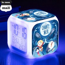 reveil projection heure Song of the Sea LED alarm Clock,wekker reveil night light color flash glowing digital clocks kids watch(China)