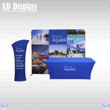Expo Booth 10ft Straight Fast Show Easy Fabric Tube Display Wall With 6ft Spandex Table Cover Printing And Tower Banner Stand