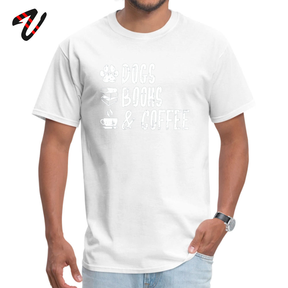 Printed 100% Cotton Fabric T Shirts for Men Short Sleeve Crazy Tops Shirt Graphic NEW YEAR DAY Round Neck _black T-shirts Design Dogs Books and Coffee Dog Lover Coffee Lover  white