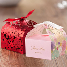 10PC  Small Laser Cut Candy Bag Wedding Party Favor Gift Candy Boxes Ribbon Casamento Event Decorations BX021