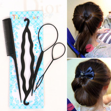 New DIY Hair Twist Bun Making Comb Ponytail Bun Maker Styling Clip Braid Accessories Tools Sets
