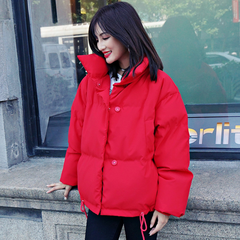 Korean Style 19 Winter Jacket Women Stand Collar Solid Black White Female Down Coat Loose Oversized Womens Short Parka 18